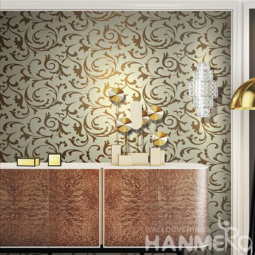 HANMERO Exported Gloden High-end Mica Wallpaper Bedroom Decorative Wallcovering from Chinese Manufacture