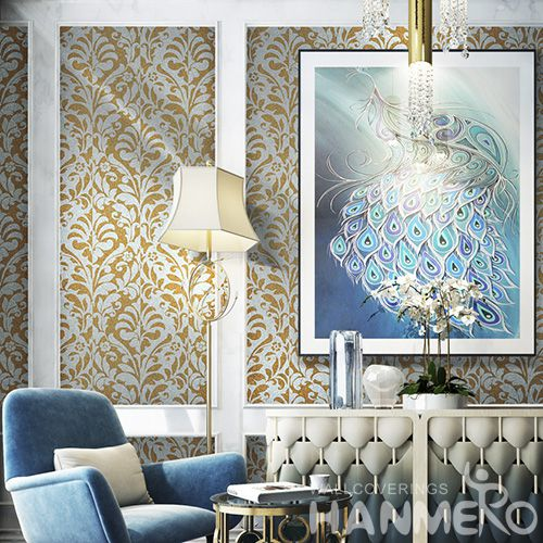 HANMERO Yellow Color Modern High-end Mica Wallpaper Home Decor Wallcovering Online Chinese Factory
