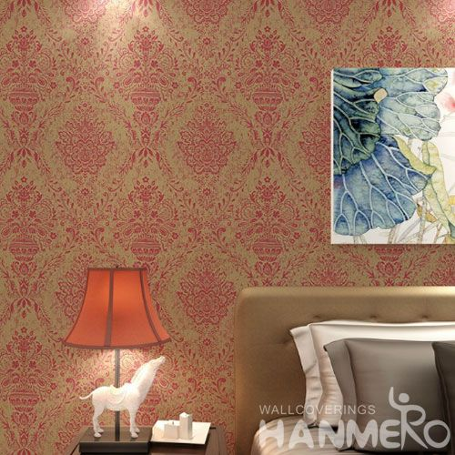 HANMERO Affordable Hot Selling Red 0.53 * 10M Gilding Wallpaper Household Room Residential Wallcovering Competitive Prices