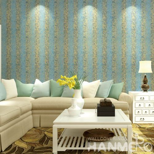 HANMERO Modern 0.53 * 10M / Roll Blue Line Color Home Wallpaper Household Room Chinese Gilding Wallcovering Wholesale Prices