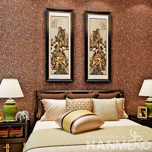 HANMERO Natural Material Top Quality Living Room Mica Wallpaper for Wall Decoration in Brown Color