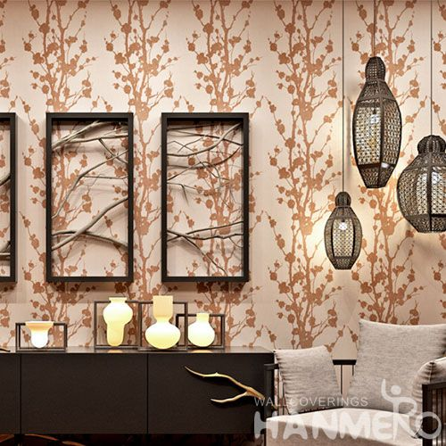 HANMERO Latest Beads Trees Pattern 0.53 * 10M Decorative Wallpaper for Wall in Modern Style Chinese Wallcovering Manufacturer