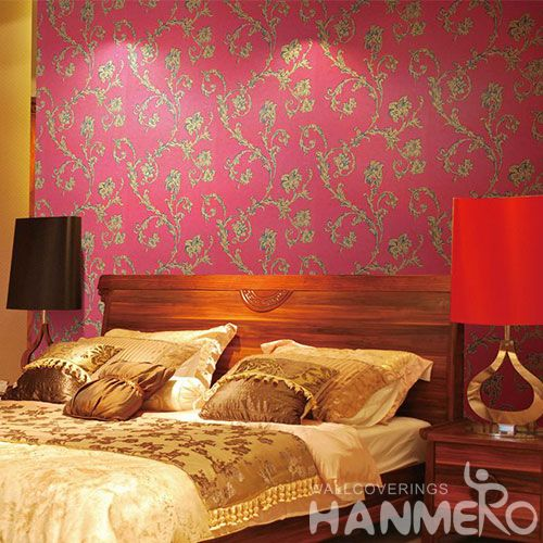 HANMERO Eco-friendly Natural Red Beads Wallpapers for Room Walls 0.53 * 10M Beautiful Flowers Living Room Decorating Wallcovering
