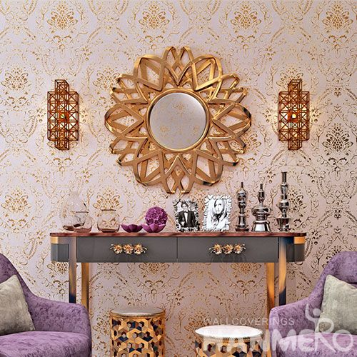 HANMERO New Arrival Golden Gilding Wallpaper Warehouse Lounge Rooms Hotel Decoration Wallcovering Manufacturer