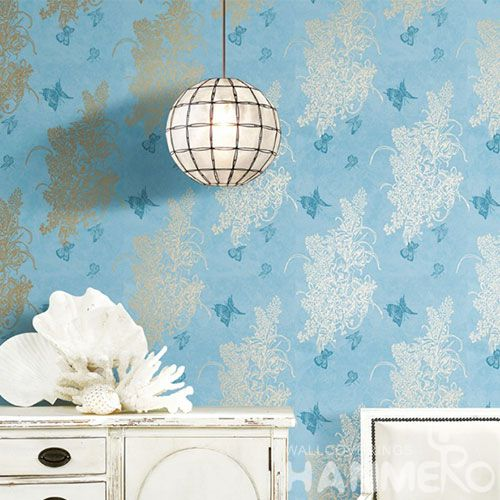 HANMERO Blue Color Modern Style Designer Room Bronzing Wallpaper Household Wallcovering for Wholesale Prices