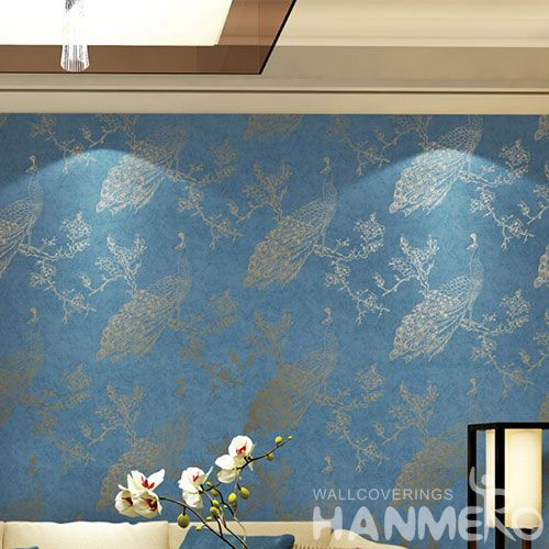 HANMERO Chinese Wallcovering Supplier Modern Fashion Blue Patterned Bronzing Wallpaper for Kitchen Bathroom Wall Decor