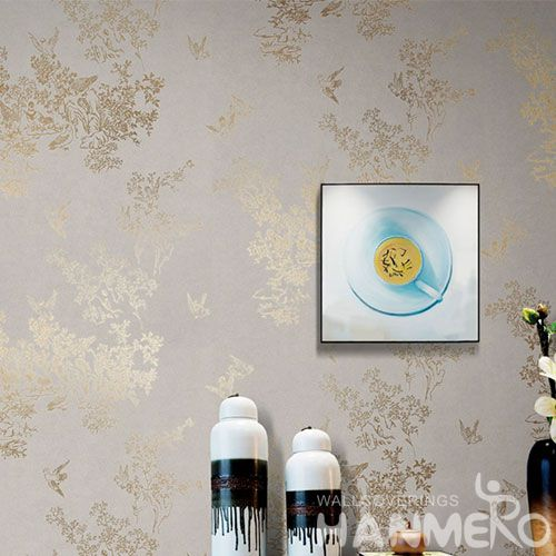 HANMERO High-end Eco-friendly Gloden Bronzing Wallpaper Natural Material Modern Style from China with Unique Technology
