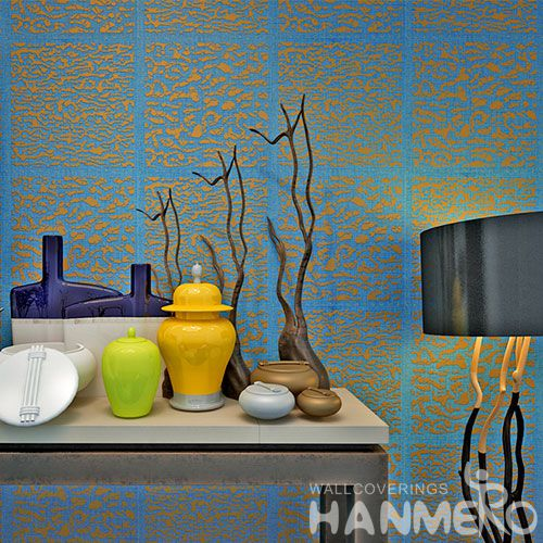 HANMERO High-end Natural Material Blue Gloden Bronzing Wallpaper for Living Room Interior Wall Decoration for Wholesale