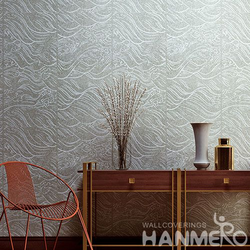 HANMERO 0.53 * 10M / Roll Luxury Special Design Natural Plant Fiber Particle Wallpaper for Room Wall Decoration with Unique Technology