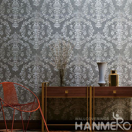 HANMERO Modern Floral Pattern Plant Fiber Particle Wallpaper for Sofa Backgroung 0.53 * 10m / Roll Factory Supplier