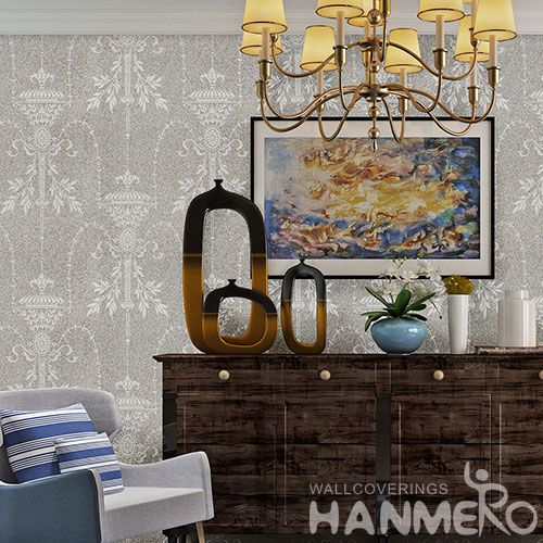 HANMERO Removable Eco-friendly 0.53 * 10M / Roll Natural Plant Fiber Wallpaper with Beautiful Patterns for Interior Home Decoration