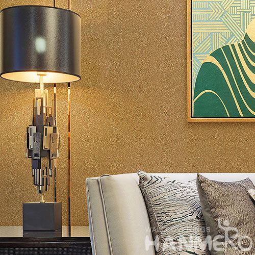 HANMERO High-end Removable Chinese Supplier Natural Mica Wallpaper Golden Color for Cozy Home Decoration with Simple Designs