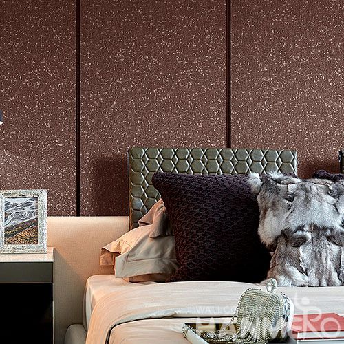 HANMERO 0.53 * 10M / Roll Wallcovering Factory from China Restaurant Kitchen Wall Decor Natural Plant Fiber Particle Wallpaper Exporter