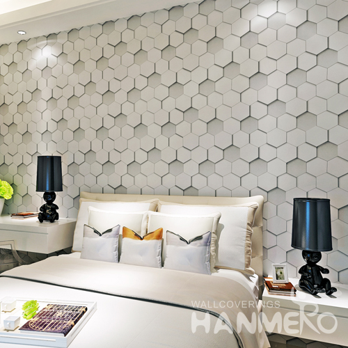 Hanmero PVC Hexagon Geometric Pattern Printed Vinyl Wallpaper Gray