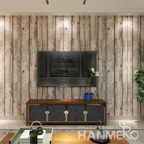 Hanmero PVC Imitation Wood Grain Looks Real Up Wallpaper