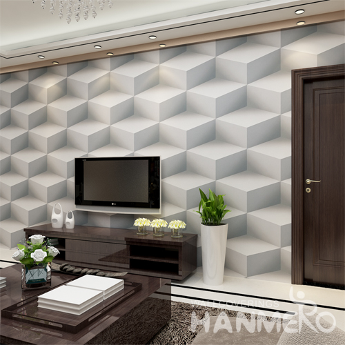 Hanmero 3D Simple Vinyl Embossing Wallpaper Light Grey