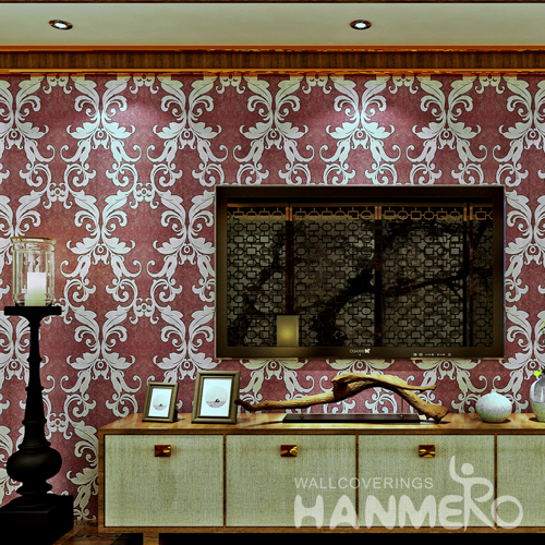 Hanmero Italian Deep Embossed Wallpaper Rolls Red