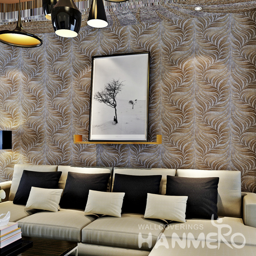 Hanmero 3D Modern Deep Embossed Wallpaper Rolls Bronze