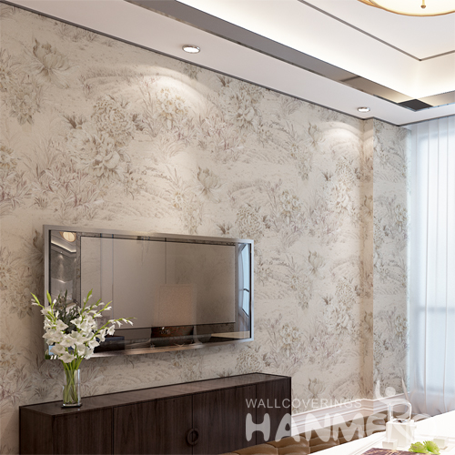 Hanmero Rural Floral Thick Deep Embossing Wallpaper Roll Off White