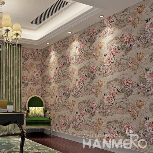 Hanmero Rural Floral Thick Deep Embossing Wallpaper Roll Coffee