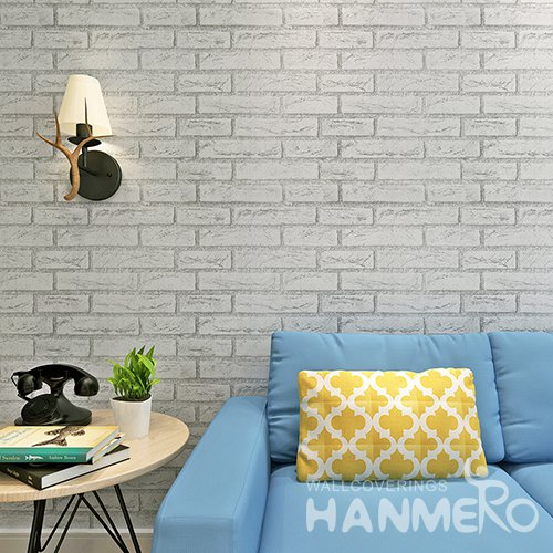 HANMERO Rural Imitation White Gray Brick DIY 3D Peel and Stick Wall paper Murals Stickers