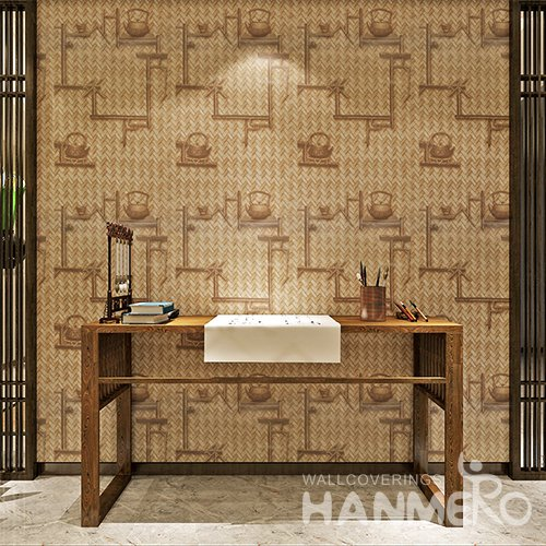 HANMERO Chinese Vintage Imitation Wood Grain Grass Mat Peel and Stick Wall paper Murals Stickers