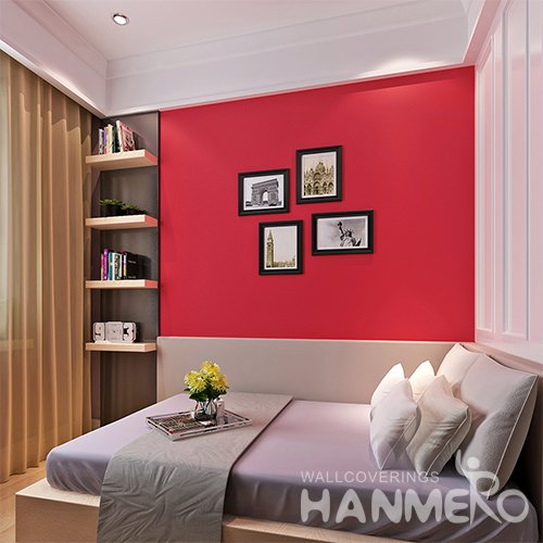 HANMERO Matte Red Solid Color Peel and Stick Wallpaper