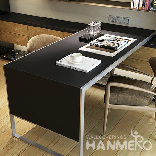 HANMERO Matte Black Solid Color Peel and Stick Wallpaper