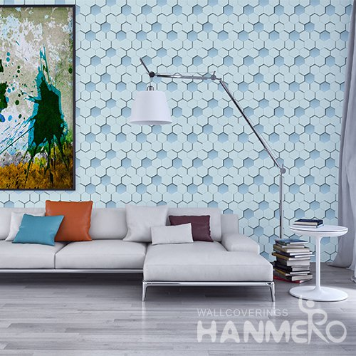 HANMERO 3D Modern Embossing PVC Wallpaper Blue Home Decor