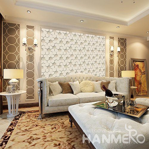 HANMERO 3D Modern Embossing PVC Wallpaper Yellow Home Decor