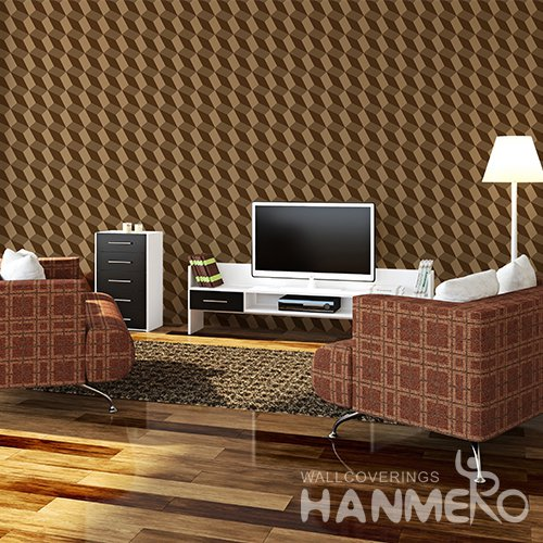 HANMERO 3D Modern Embossing PVC Wallpaper Brown Home Decor