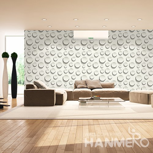 HANMERO 3D Modern Embossing PVC Wallpaper White Home Decor