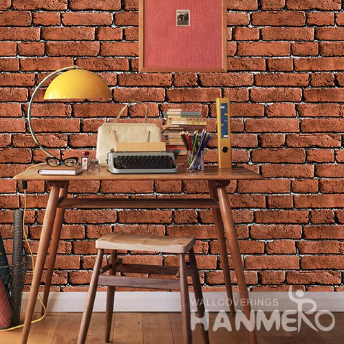 HANMERO 3D Rural Embossing PVC Wallpaper Red Home Decor