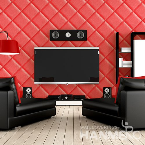HANMERO 3D Modern Embossing PVC Wallpaper Red Home Decor
