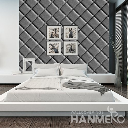 HANMERO 3D Modern Embossing PVC Wallpaper Black Home Decor