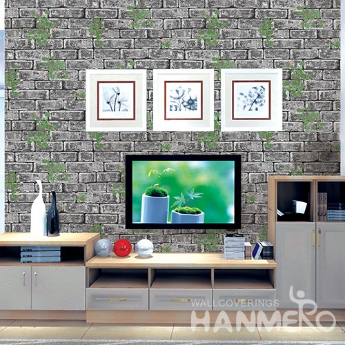 HANMERO 3D Rural Embossing PVC Wallpaper Gray Home Decor