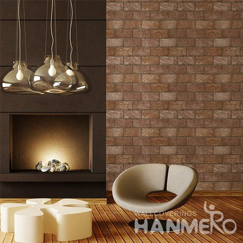 HANMERO 3D Rural Embossing PVC Wallpaper Brown Home Decor