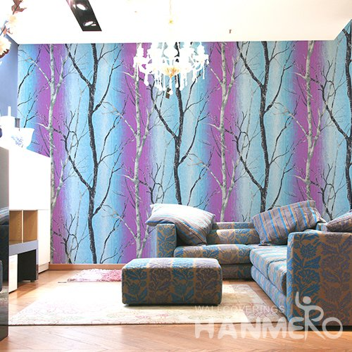 HANMERO 3D Rural Embossing PVC Wallpaper Purple Home Decor