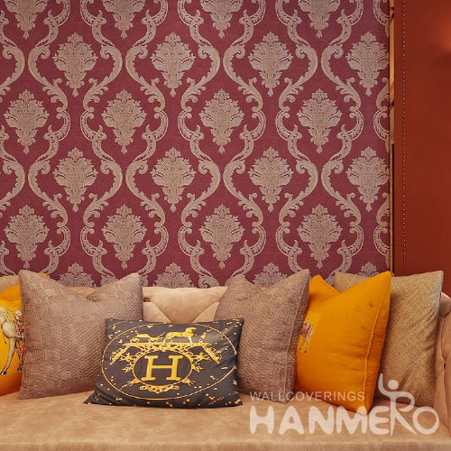 HANMERO 3D European Embossing PVC Wallpaper 20.86 393 inches Red Home Decor