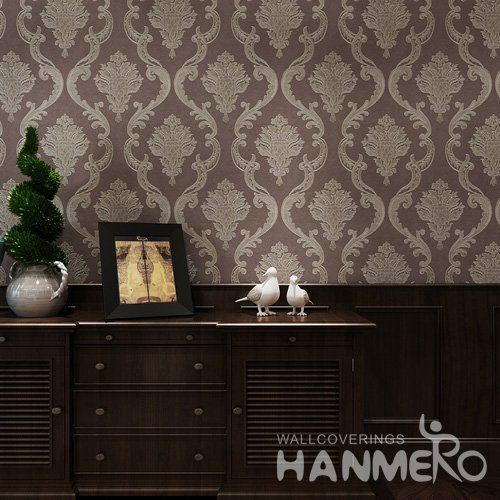 HANMERO 3D Classic Embossing PVC Wallpaper Brown Home Decor