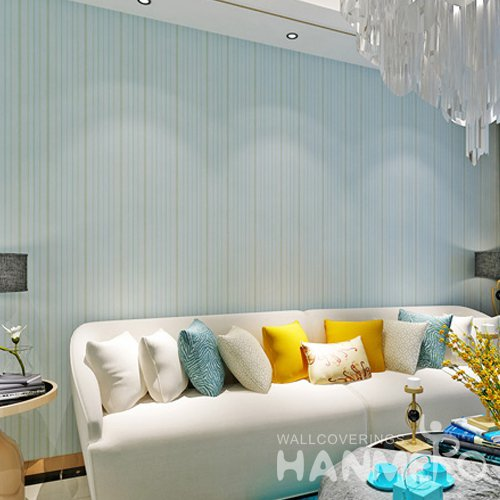 HANMERO Modern Light Green Stripe Pattern PVC Embossed Wallpaper For Home
