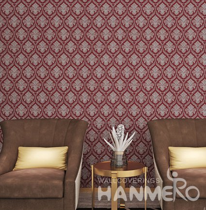 HANMERO PVC Burgundy European Style Floral Embossed Wallpaper For Room