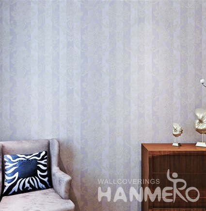 HANMERO Vinyl Light Purple Floral Embossed Home Decorative Wallpaper