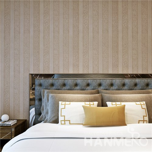 HANMERO Modern Stripe Light Brown Vinyl Wallpaper For Bedding Room