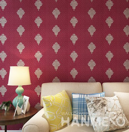 HANMERO Modern Wine Red PVC Embossed European Living Room Wallpaper