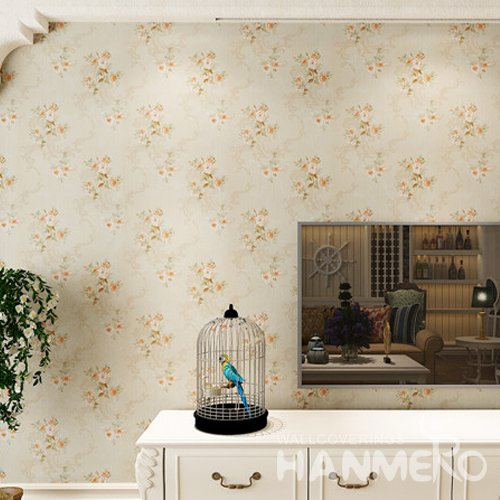 HANMERO Beautiful Embossed Decorative PVC Floral Bedding Room Wallpaper