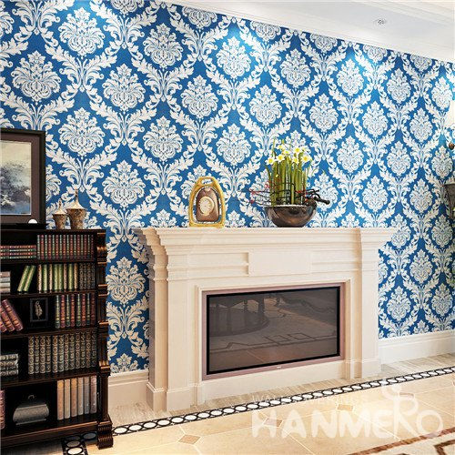 Luxurious HANMERO Royal Blue Damask European Vinyl Wallpaper