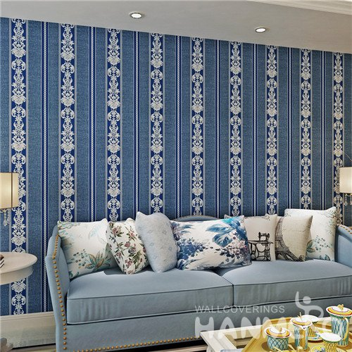 HANMERO Royal Blue Stripe Floral Pattern PVC Wallpaper For Home