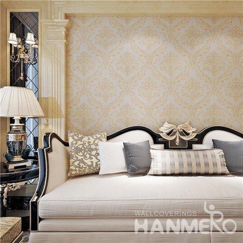 HANMERO Gold Floral Eco_friendly European PVC Embossed Living Room Wallpaper