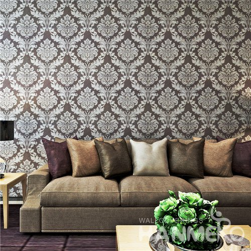 HANMERO Brown and White Damascus Style Vinyl Living Room Wallpaper